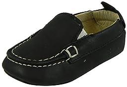Old Soles Kid\'s Black Baby Boat Shoe Soft Leather Slip On Crib Walker Loafer Shoe 21 M EU/5 M US Toddler