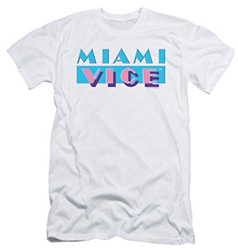 Miami Vice Logo Slim Fit White T-Shirt - Sizes M to XXL