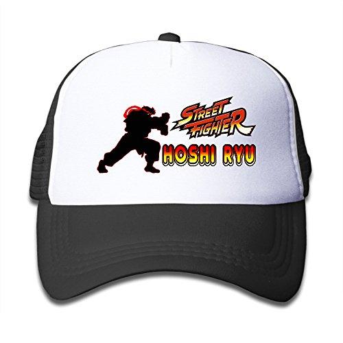 [Y1T2FF Kids Street Game Mesh Snapback Baseball Cap Hat Black] (Chun Li Wig)
