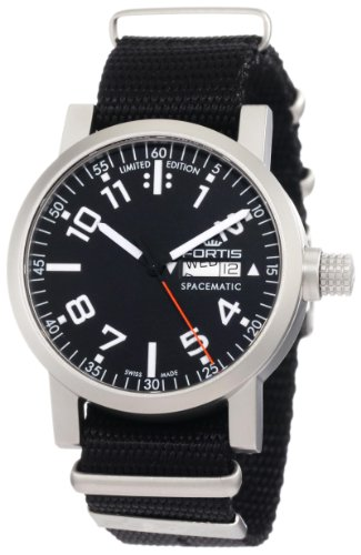 Fortis Men's 623.22.41 N.01 Spacematic Automatic Day and Date Nylon Strap Watch