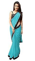Women's Exclusive Sky Blue Georgette Plain Sari with Blouse