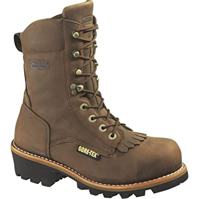 "Men's Wolverine 8"" Steel Toe WP Boots BROWN 7 M"