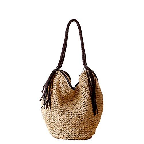 GSPStyle-Damen-Stroh-Schultertasche-Strandtaschen-mit-Reiverschluss-Farbe-Beige