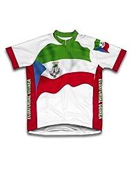 Ecuatoria Guinea Flag Short Sleeve Cycling Jersey for Women