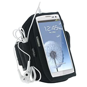 iGadgitz Black Neoprene Sports Gym Jogging Armband for Samsung Galaxy S3 III i9300 Android Smartphone Cell Phone (Compatible with all carriers incl AT&T, Sprint Nextel, T-mobile & Verizon Wireless)
