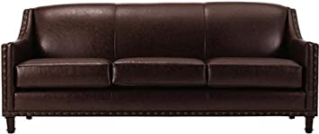 "Rockford Leather Sofa, 35""Hx84""Wx34""D, BROWN"
