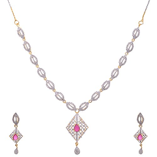 Aditri Aditri Maroon Colour American Diamond Necklace For Women (Multicolor)