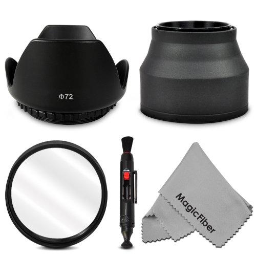 72Mm Accessory Kit For Canon (Ef 35Mm F/1.4L, Ef 85Mm F/1.2L Ii, Ef 135Mm F/2L), Nikon (85Mm F/1.4, 18 200Mm F/3.5 5.6G) Lenses - Includes: Tulip Lens Hood + Collapsible Rubber Lens Hood + Uv Lens Filter + Lens Cleaning Pen + Magicfiber Microfiber Lens Cl