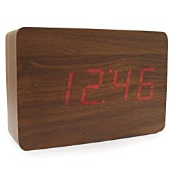 JCC Wooden Series Mini Rectangle Wood Grain Calendar Thermometer Activated Desk Super Soft Night Light LED Digital Alarm Clock, Brown Wood - Red LED