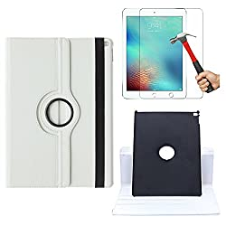 DMG Premium 360 Degrees Rotating Smart Cover Stand Case for Apple iPad Pro + Tempered Glass Screen Protector (White)