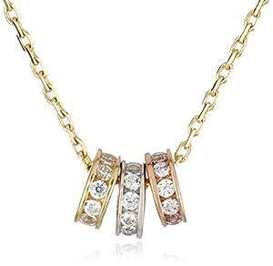 "14k Tricolor Gold Three Circle Cubic Zirconia Pendant Necklace, 16"""