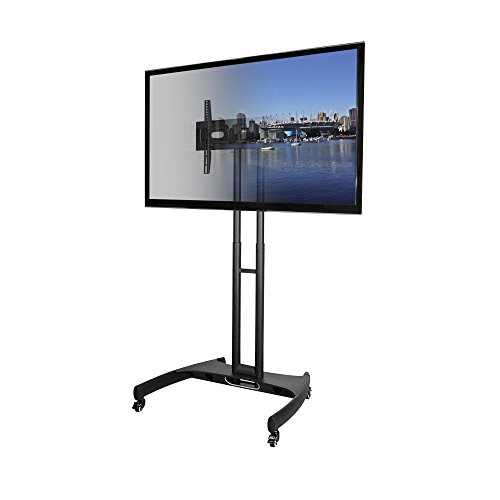 kanto mtm65 mobile tv stand with mount for 37 to 65 inch flat panel screens black. Black Bedroom Furniture Sets. Home Design Ideas