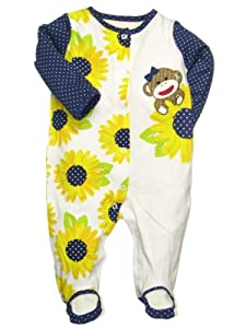 Baby Girls Sunflower Sock Monkey Sleeper Footie by Baby Starters
