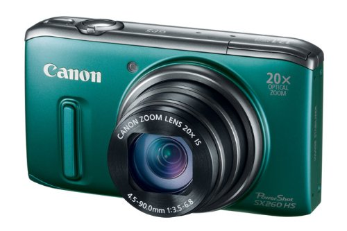 Canon PowerShot SX260 HS 12.1 MP CMOS Digital Camera with 20x Image Stabilized Zoom 28mm Wide-Angle Lens and 1080p Full-HD Video (Green)