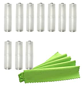 ColorYourLife 10 pcs Frost Clear AAA to AA Battery Converter Adapter holder + Microfiber Cloth in Retail Packaging