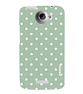 POLKA DOT WHITE AND GREEN PATTERN 3D Hard Polycarbonate Designer Back Case Cover for HTC One X :: HTC One XT :: HTC 1X