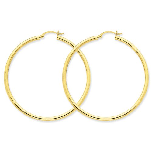 14k Yellow Gold Polished 2.5mm Round Hoop Earrings. 55mm Diameter.