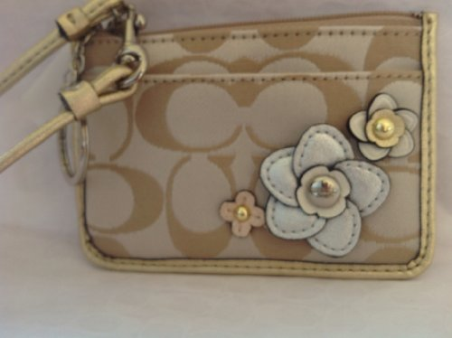 COACH Signature Floral Applique ID Skinny Wallet 48761