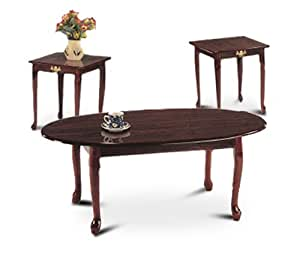 3 piece cherry finish coffee table set with for Coffee tables amazon