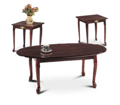 3 Piece Cherry Finish Coffee Table Set With Two End Tables