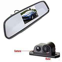 Alria 2in1 Car Parking Sensor Reversing Radar Rear Camera with 4.3'' Rearview LCD TFT Monitor