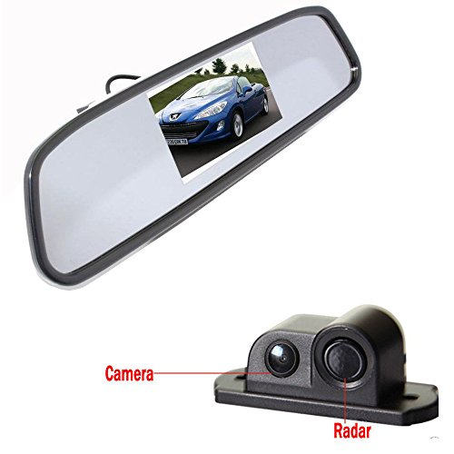 "Alria 2in1 Car Parking Sensor Reversing Radar Rear Camera with 4.3"" Rearview LCD TFT Monitor"
