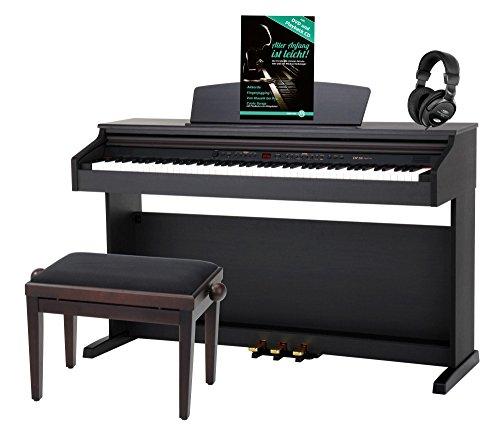 DP-50 RH E-Piano SET (Digitalpiano mit Hammermechanik, 88 Tasten, 2 Anschlüsse für Kopfhörer, USB, LED, 3 Pedale, Piano für Anfänger, Pianobank, Kopfhörer, Klavierschule) Rosenholz