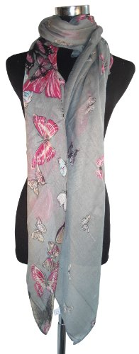 Large Grey Butterfly Chiffon Scarf or Sarong