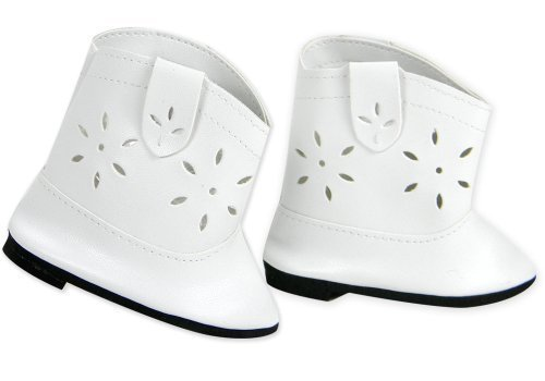 Doll Cowgirl Boots in White, Doll Shoes Fits 18 Inch Dolls like American Girl, White Cowgirl Doll Boots