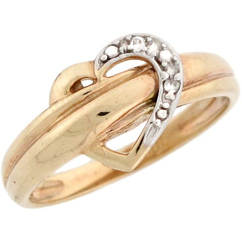 10k Two Tone Solid Gold 0.02cttw Real Diamond Heart Love Symbol Ring