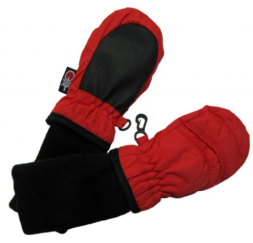 SnowStoppers Kid's Waterproof Stay On Winter Nylon Mittens Extra Small / 6-18 Months Red