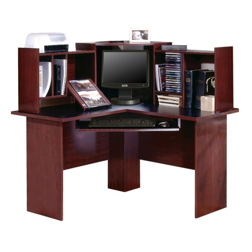 South Shore Furniture, Corner Desk, Pure Black and Traditional Cherrywood