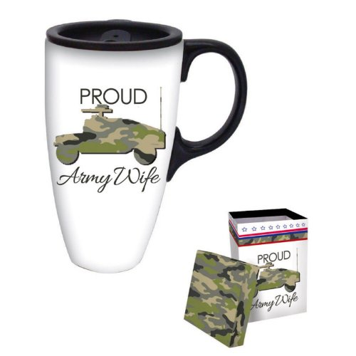 Proud Army Wife Boxed Ceramic Latte Travel Mug 17oz