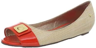 Sebago Women's Camella Peep-Toe Flat, Natural/Orange, 6.5 M US