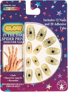 "Rubie's Costume Co ""Glow"" Spider Print Nails Costume - 1"