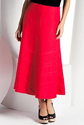 Linen Blend Grosgrain Panelled Skirt [T57-9363-S]