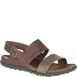 Merrell Women\'s Around Town Backstrap Sandal, Brown/Green, 8 M US