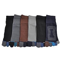 Angelina 6-Pair-Pack Yoga/Pilates Full Toe Grip Teo Socks #07_10-13_solid