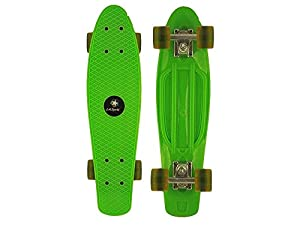 "Green LA Sports Retro 70's 22 Cruiser Skateboard, Vintage Style Mini Cruiser, High Quality 22"" x 6"" Plastic Deck, 58mm Clear PU Wheels and High Performance Trucks"