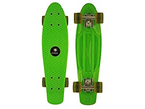 "Green LA Sports Retro 70's 22 Cruiser Skateboard, Vintage Mini Cruiser Board, High Quality 22"" x 6"" Plastic Deck, Clear PU Wheels and Performance Trucks"