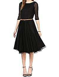 Kurti (Sai Fab Women's Net Printed Black & Kurti) ( Free Size Altrable Till 42-44 OR XL)