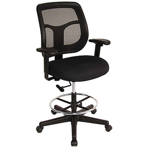 "Eurotech Apollo Mesh Back Drafting Stool - 26-1/2 -36-1/2"" Seat Height - Black"