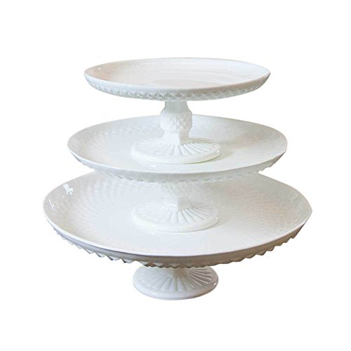 Milk Glass Cake and Dessert Stand, Diamond Cut, Glass, Food Safe, Serving Tray, Vintage Inspired, Wedding, Event, Venue, Restaurant, Baking, (White), (Assorted Set of 3) (Milk Glass Pedestal Cake Stand compare prices)