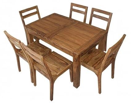 Essgruppe aus Massivholz fur 6 Personen mit ausziehbarem Tisch 130 cm auf 190 cm