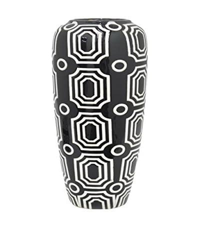 Three Hands Short Geometric Ceramic Vase, Black/White