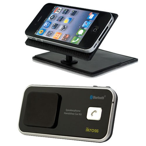iKross Solar Bluetooth Speakerphone Handsfree Car Kit + Universal Car Dashboard 360-Degree Swivel Phone Holder for LG Intuition; Samsung Galaxy Note 2 N7100, Note N7000, Galaxy S3/S III, Galaxy S2/S II, Galaxy Stellar and Other Android Cell Phone, Blackberry Mobile Phone, Window Smartphone and more