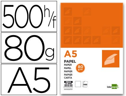 Papel Din A5 80gr Paquete De 500 Hojas Liso