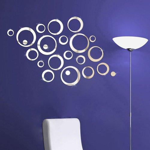 1Pcs Murales Adesivi Tono Argento 3D Effetto Specchio Rotondi del Cerchio Parete Dcorazione Vinile Rimovibile DIY Casa Hotel Ristorante Soggiorno Camera da Letto Ufficio