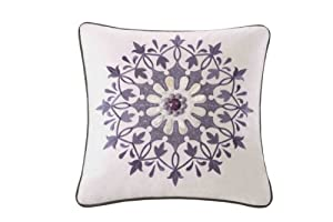 Echo Marrakesh 18-Inch by 18-Inch Polyester Fill Pillow, Ease, White