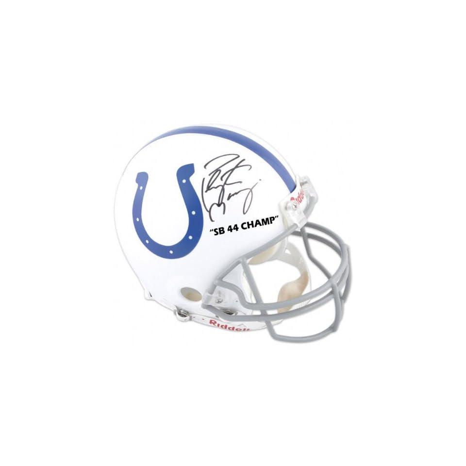Peyton Manning   Half Indianapolis Colts and Half Super Bowl XLIV Logo   Autographed Pro Line Helmet with SB XLIV Champ Inscription